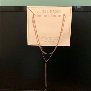 8 Other Reasons Gold tone Lariat Necklace